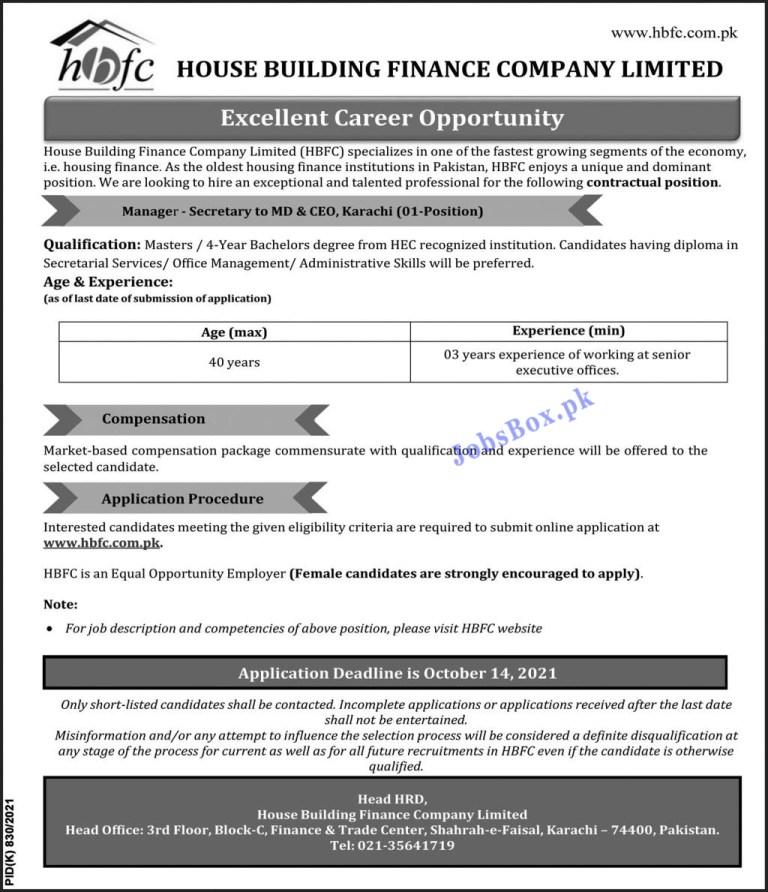 www.hbfc.com.pk - HBFC House Building Finance Company Jobs 2021 in Pakistan