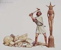 Este asherah, ou bosque (E.R.C.) ou poste-ídolo (E.R.A.), representava o elemento feminino no culto à fertilidade e consistia de um poste de madeira, ou o tronco de uma árvore, que era levantado ao lado do altar de Baal.