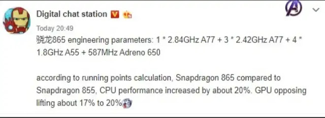 Snapdragon 865 is expected to be 20 percent faster than the 855 - Techzost blog