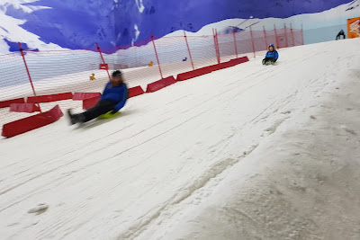 Snow Play Chill Factore review boy and man both sledging down steep hill