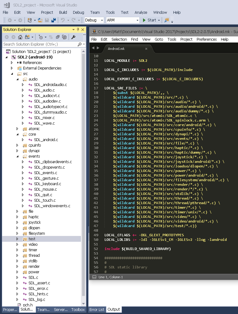 Building SDL2 for Android with Visual Studio