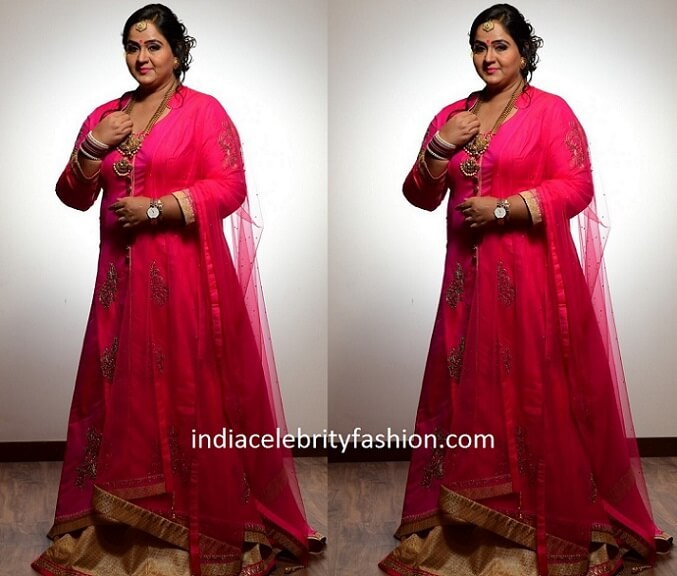Radha in Anarkali Suit for her 25 Years Wedding Anniversary