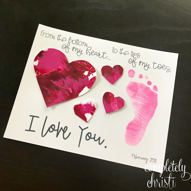 toddler footprint Valentine heart craft art