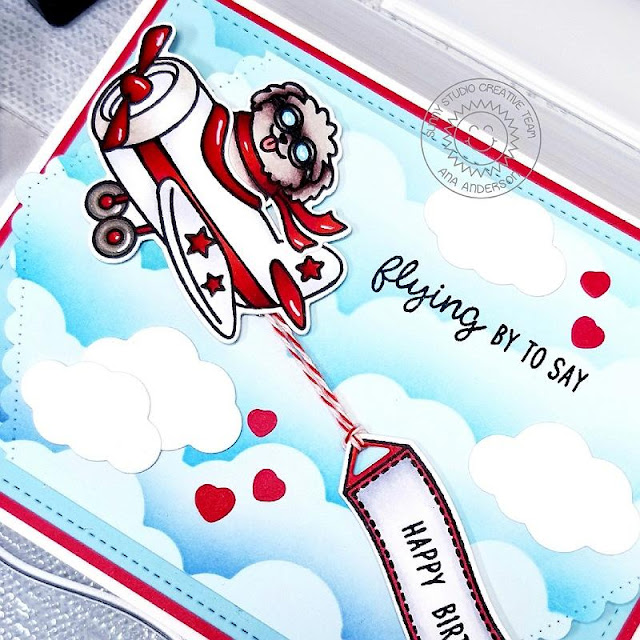 Sunny Studio Stamps: Plane Awesome Fluffy Clouds Border Dies Frilly Frames Dies Plane Themed Everyday Cards by Ana Anderson