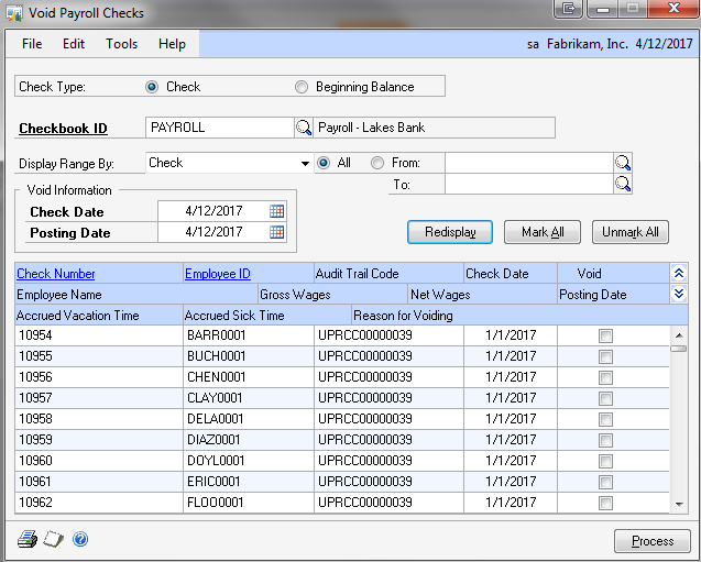 Dynamics GP Land: Why Can't I Void a Payroll Check/Direct Deposit?