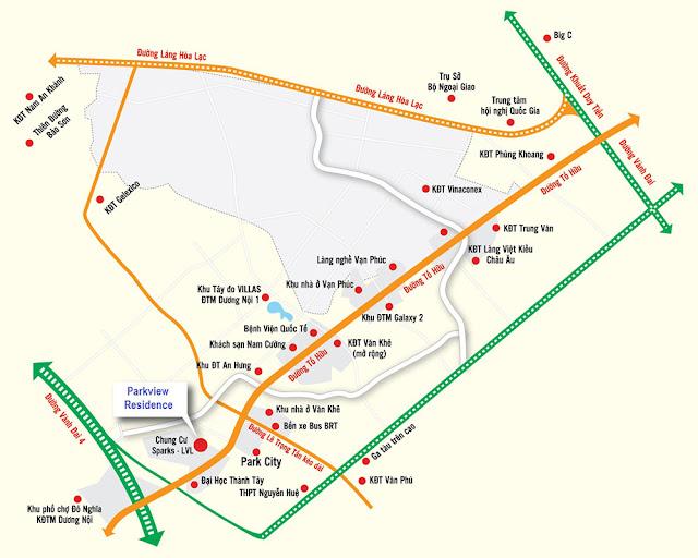 Vị trí chung cư Park View Residence Dương Nội