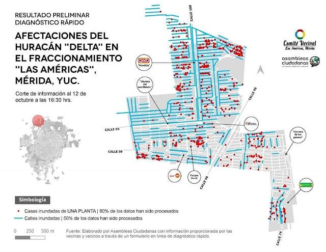En la gráfica se observan las calles que siguen inundadas en el fraccionamiento Las Américas