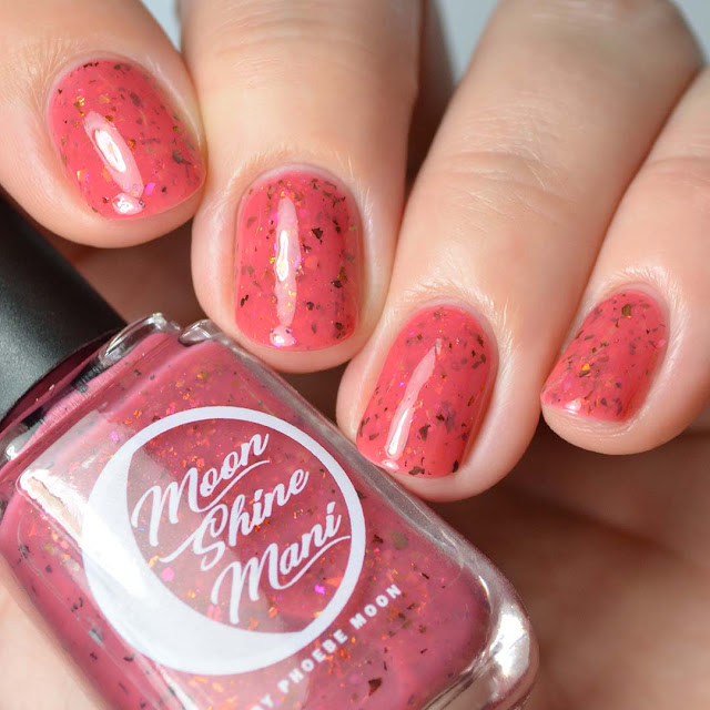 rose red nail polish with color shifting flakies
