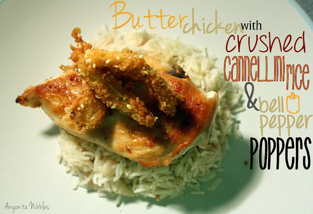 butter chicken with cannellini rice and bell pepper poppers