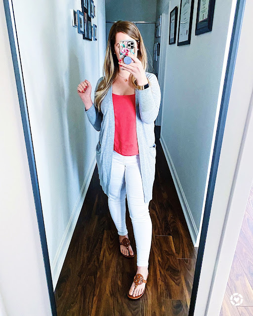 Red Blouse White Jeans Gray Cardigan Outfit