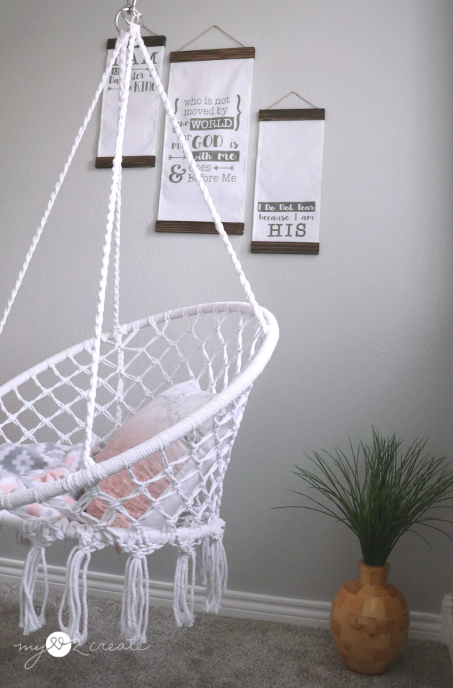 hanging swing and diy fabric signs