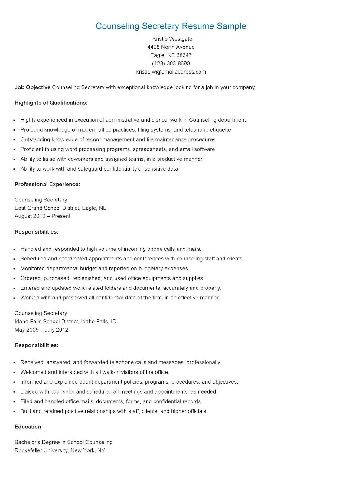 Resume Samples Counseling Secretary Resume Sample