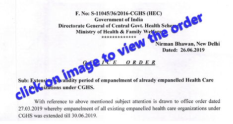 extension of validity of empanelled HCO