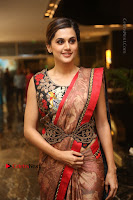 Tapsee Pannu Latest Stills in Red Silk Saree at Anando hma Pre Release Event .COM 0063.JPG