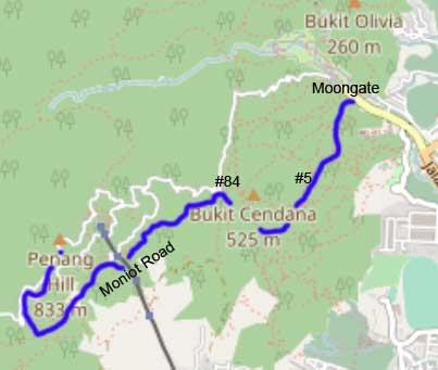 Moongate - Penang Hill via #5, #84 and Moniot Road