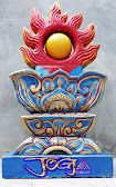 bola api naga dibuat dari batu alam paras jogja / batu putih, pasangan dari patung naga hijau