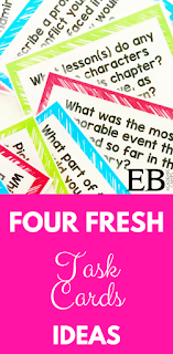 """Four fresh ideas for using task cards in your middle school ELA (English) classroom! From Socratic Seminar to """"Pass It Back"""" - you'll love these new ideas for discussion questions!"""