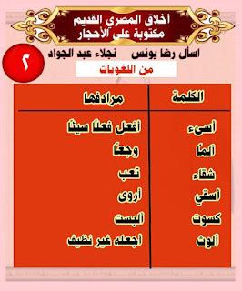 شرح درس اخلاق المصري القديم منهج الصف الثاني الابتدائي الترم الثاني 2020