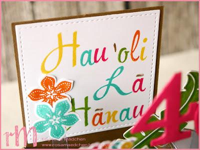 Stampin' Up! rosa Mädchen Kulmbach: Card in a box Hawaii zum 40. Geburtstag mit Pop of Paradise, Petite Petals, Gestanzte Grüße, Brushwork Alpha, Hardwood und Eulenstanze