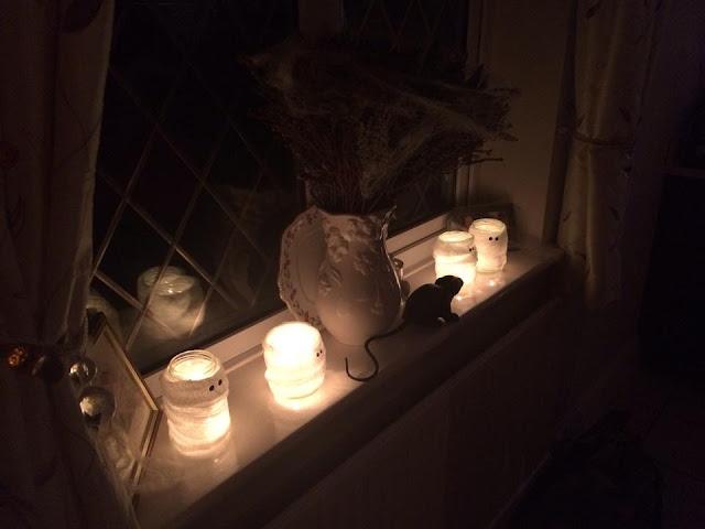 Halloween mummy candle jars