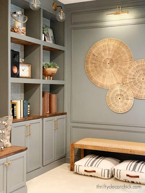 Gray bookcase and wall molding