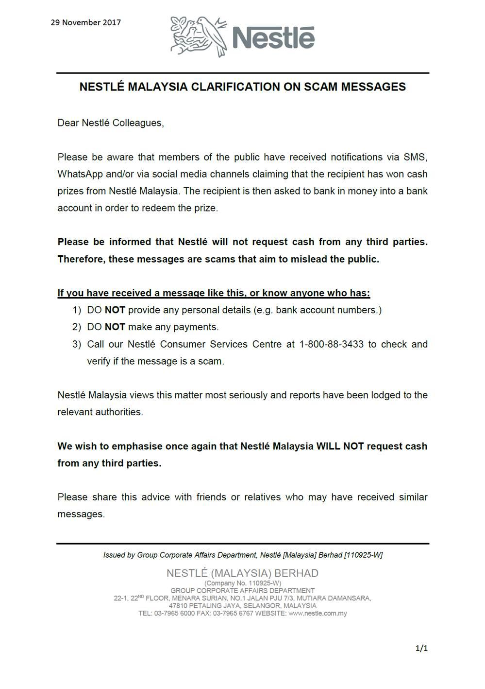 Malaysia Nestle Retirees: Nestlé Malaysia Clarification on Scam Messages