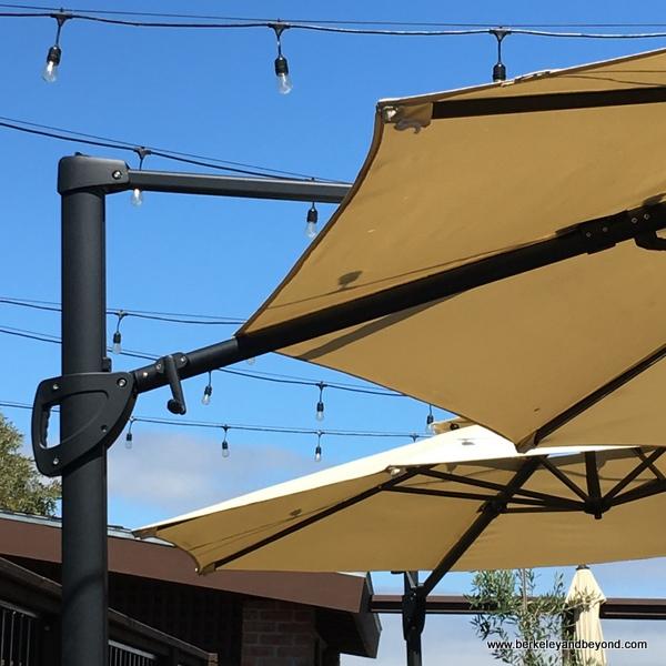 patio umbrellas at Bella Siena restaurant in Benicia, California