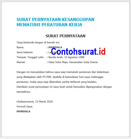 Surat Pernyataan Kesanggupan Mematuhi Peraturan Kerja