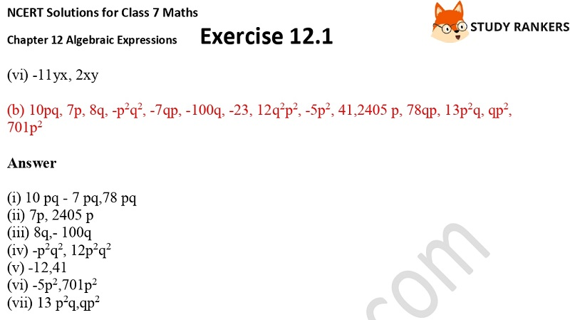 NCERT Solutions for Class 7 Maths Ch 12 Algebraic Expressions Exercise 12.1 7