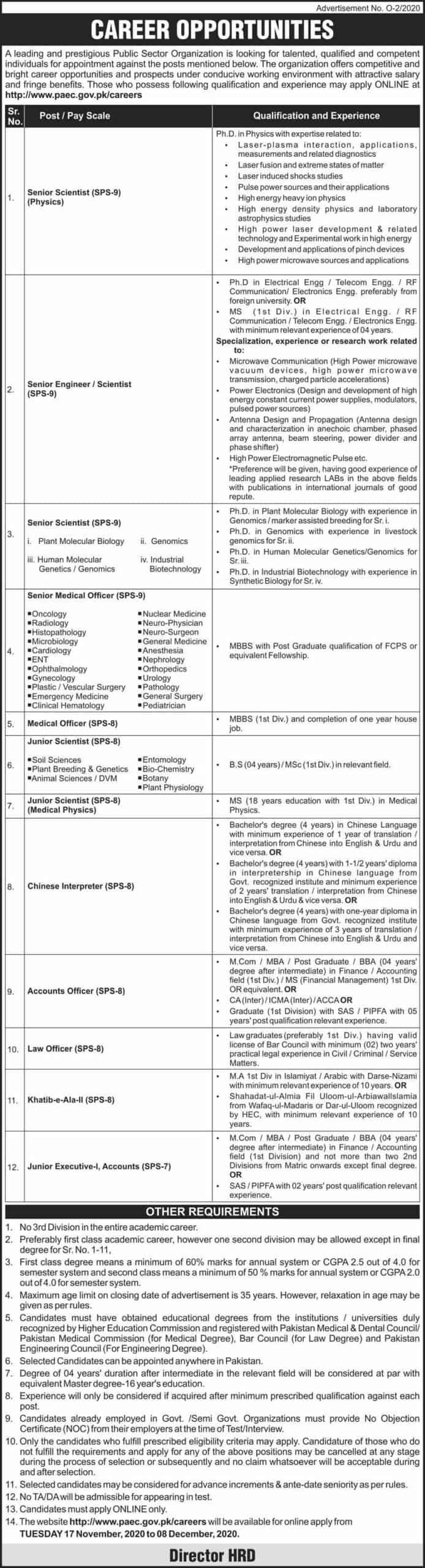 Jobs in Pakistan Atomic Energy Commission Nov 2020
