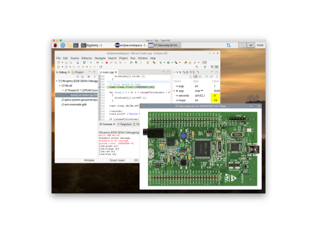 Screenshot of Eclipse IDE for Embedded C/C++ Developers running on the Raspberry Pi 4