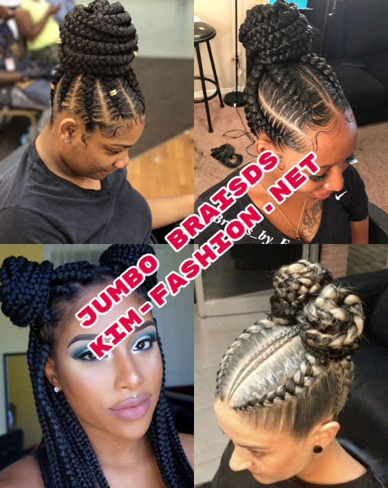 Jumbo box braids in a bun