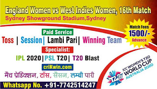 Who will win Today 16th match ENW vs WIW Womens WC 2020