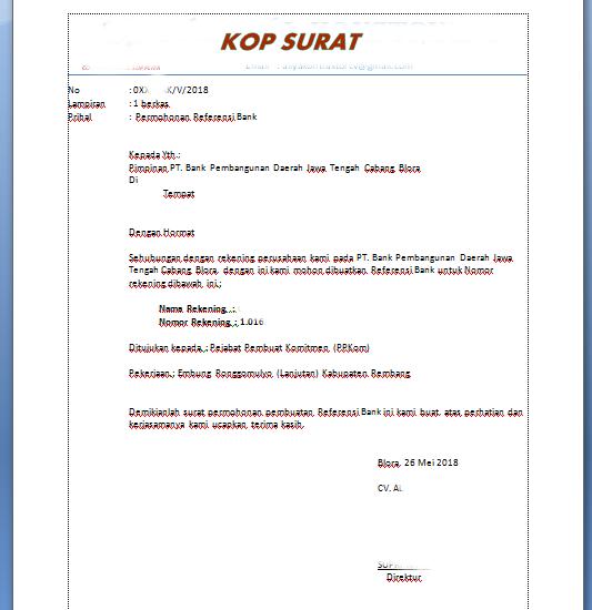 Contoh Surat Permohonan Referensi Bank Untuk Pekerjaan ...