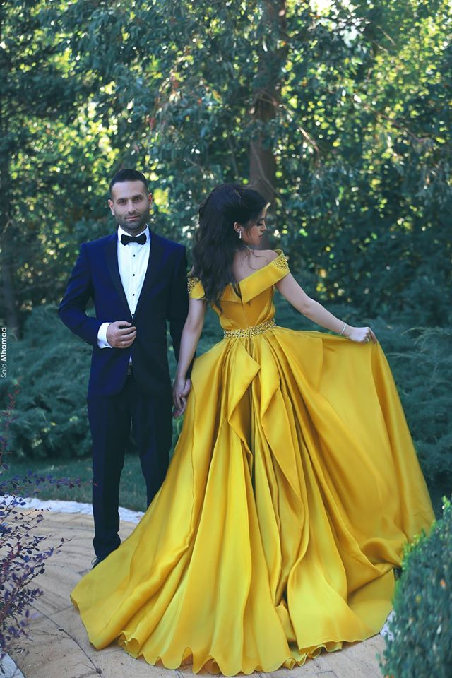 A-Line Elegant Off-the-Shoulder Glamorous Ruffles Beadings Prom Dresses