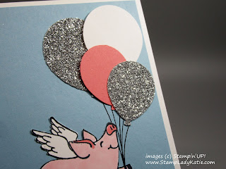 Birthday Card made with Stampin'UP!'s This Little Piggy Stamp set, Balloon Bouquet Punch and Balloon Celebration Stamp Set