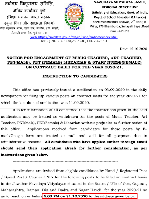 NVS Jobs Recruitment 2020