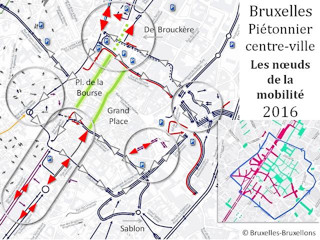 Bruxelles - Piétonnier du centre-ville - Modifications du plan de circulation 2016 - Accès et contournement - Les noeuds de la mobilité - (c) Bruxelles-Bruxellons