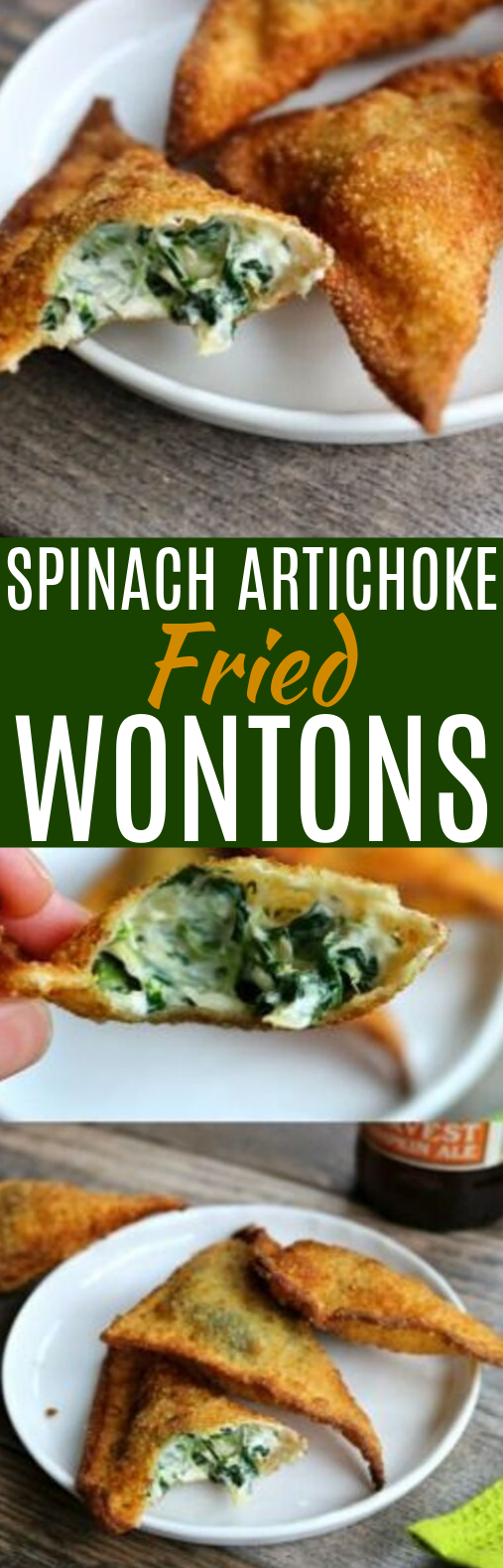 Spinach and Artichoke Fried Wontons #vegetarian #appetizers