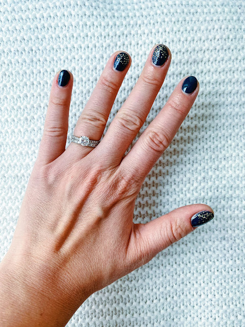 Orly Midnight Oasis Swatch, Holo Taco Gold Flakies, Navy and Gold Nail Art 2020