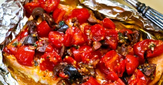 ... Grilled Salmon Packets with Tomatoes, Olives, Garlic, Thyme, and