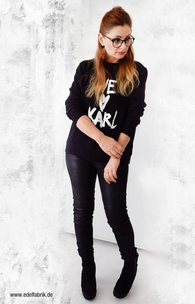 Wie kombiniere ich schwarz mit schwarz, Karl Lagerfeld Sweatshirt, Ü40 Mode