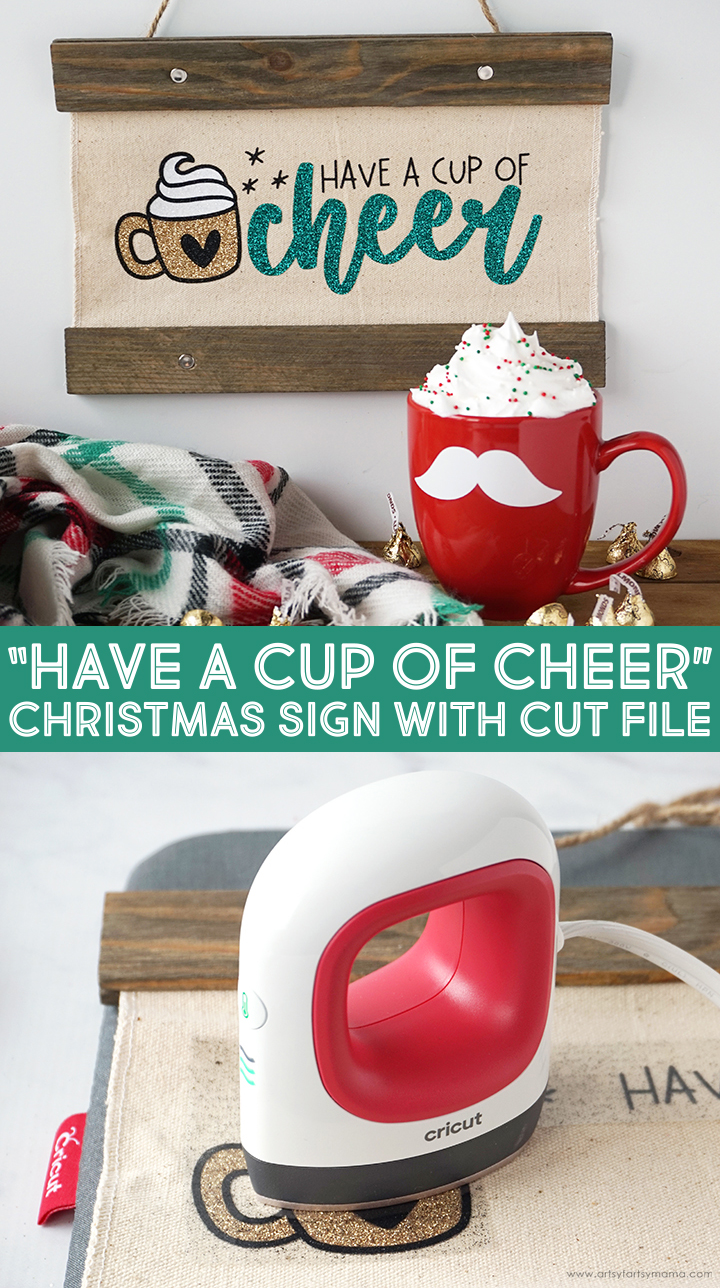 """""""Cup of Cheer"""" Christmas Sign with Cut File"""