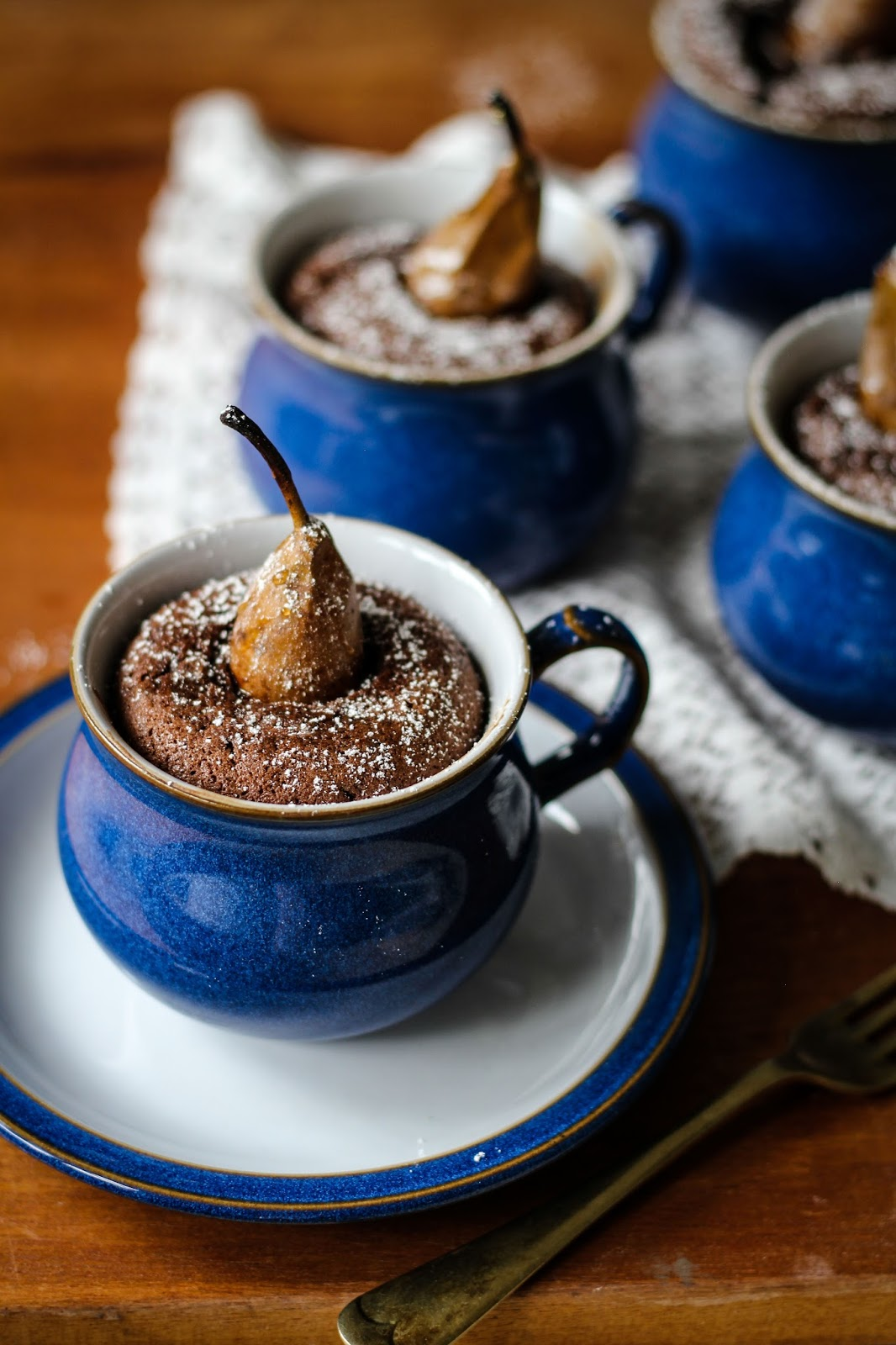 The Spoon and Whisk: Pear and Chocolate Pudding Pots