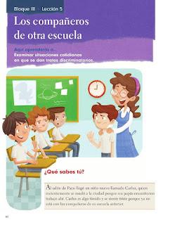 Apoyo Primaria Formación Cívica y Etica 2do. Grado Bloque III Lección 5 Los compañeros de otra escuela