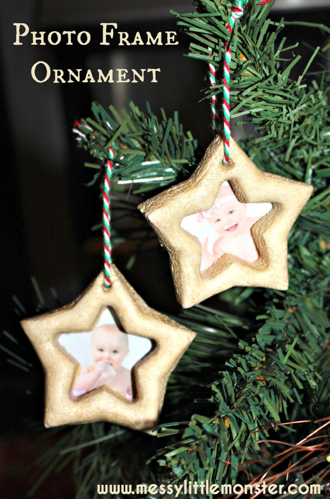 Use a simple salt dough recipe to make star photo frame ornaments.  A simple Christmas craft inspired by the book 'How to Catch a Star'. Great activity for toddlers and preschoolers as well as older kids.