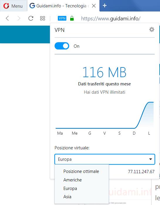Opera browser menu popup gestione e info VPN