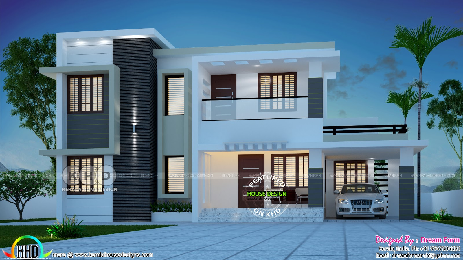 1989 Square Feet 4 Bedroom Flat Roof Contemporary House Plan Kerala Home Design And Floor Plans 8000 Houses