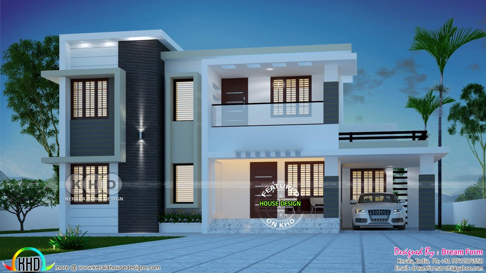 1989 Square Feet 4 Bedroom Flat Roof Contemporary House Plan Kerala Home Design Bloglovin