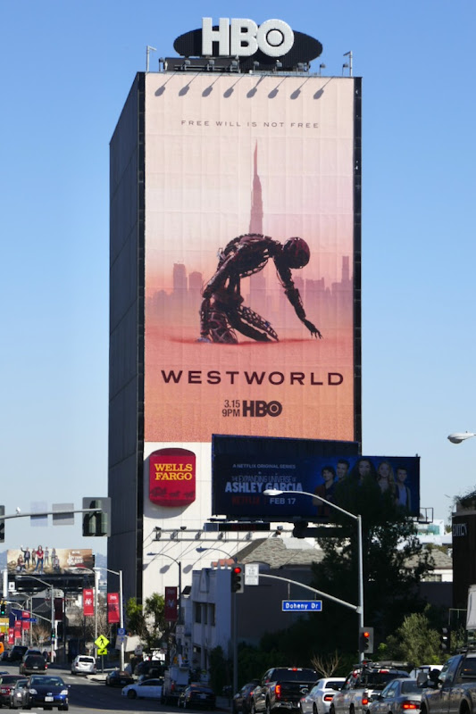 Westworld season 3 billboard Sunset Strip